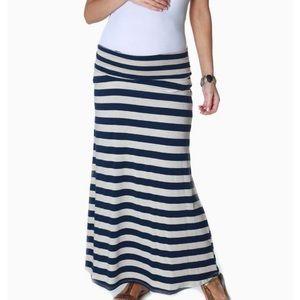 Gap Maternity Navy/White Striped Maxi Skirt Sz S